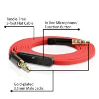 NoiseHush 12183 AS15 Gold-Plated 3.5mm Auxiliary Audio Cable with In-line Microphone